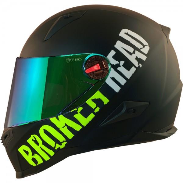 Broken Head BeProud Grün Set Motorradhelm incl. grün verspiegeltem Visier   Mirror Edition